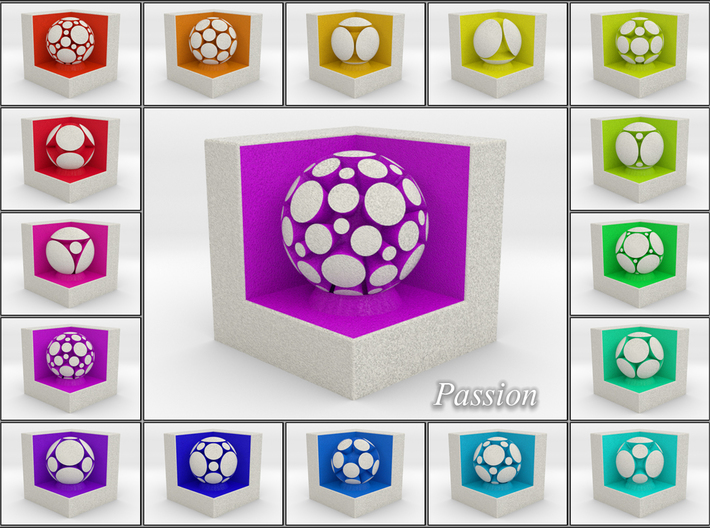 LuminOrb 1.6 - Cube Stand 3d printed Shapeways Render of Cube Display Stands with PASSION amongst LuminOrb Series I and II