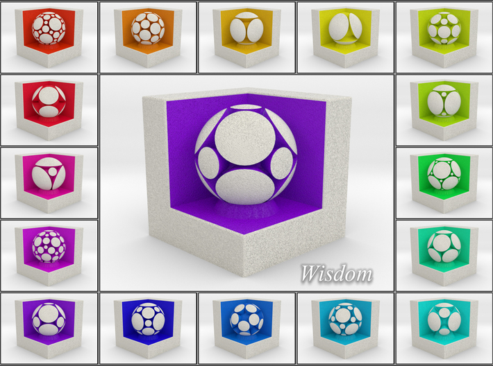 LuminOrb 2.3 -  Cube Stand 3d printed Shapeways Render of Cube Display Stands with WISDOM amongst LuminOrb Series I and II