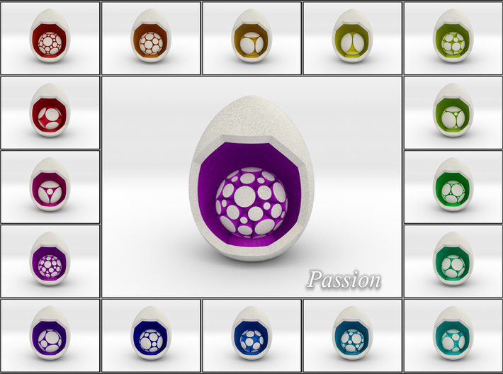 LuminOrb 1.6 - Egg Stand 3d printed Shapeways Render of Egg Display Stands with PASSION amongst LuminOrb Series I and II