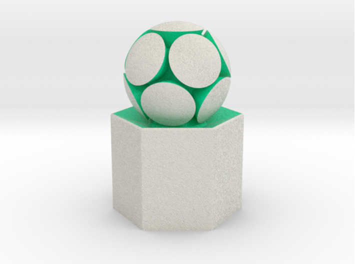 LuminOrb 1.5 - Column Stand 3d printed Shapeways render of Column Display Stand with KINDNESS in Full Color Sandstone