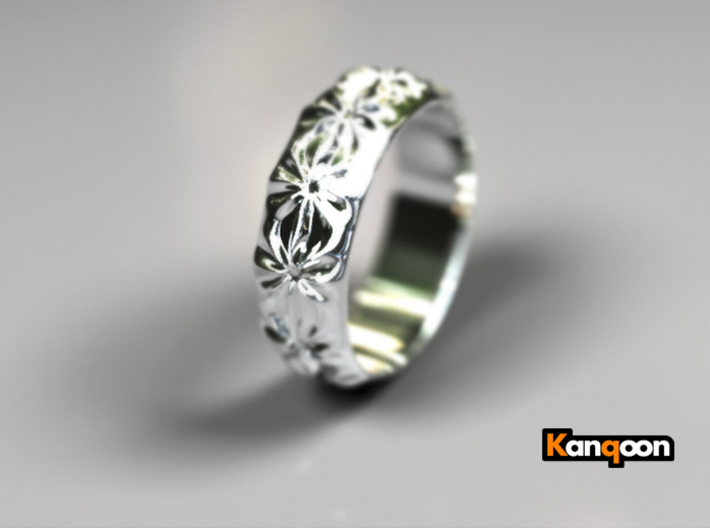 Clementine - Ring - US 9 - 19 mm inside diameter 3d printed Polished Silver PREVIEW