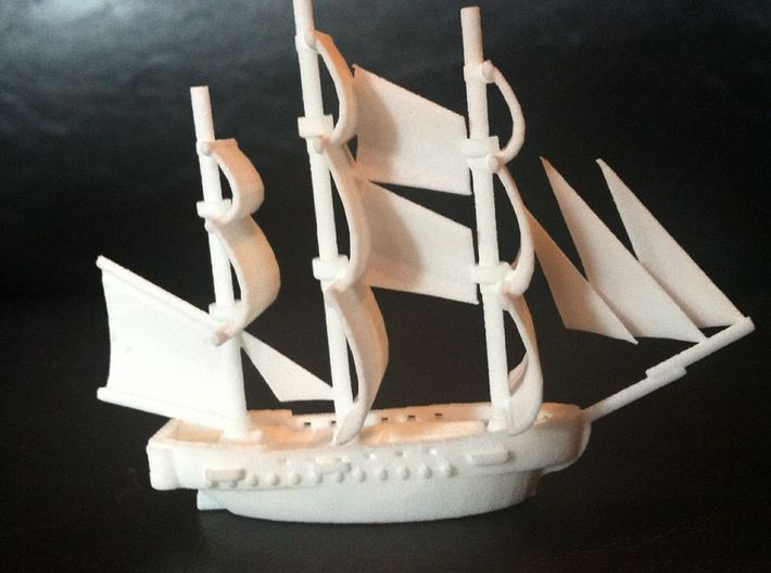 HMS Surprise ~1/700 scale 3d printed With quarter for scale