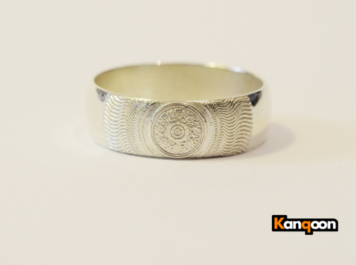 Martha - Ring 3d printed Polished Silver printed in US 12.25 - 21.5 mm inside diameter