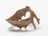 (Size 9) Moose Antler Ring 3d printed Polished Bronze Steel