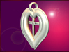 Twin Hearts with Crucifix pendant 3d printed A Pair of Hearts with a Crucifix in the center.