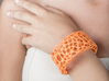 Cells Cuff (Size L) 3d printed Printed in Orange Polished Strong & Flexible Plastic