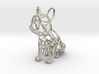 French Bulldog Wireframe Keychain (sitting) 3d printed