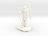 Winged Dragonborn Druid in Robes with Staff 3d printed