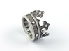 Crown Ring (various sizes) 3d printed Silver (blackened)