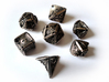 Stretcher Dice Set With Decader 3d printed In stainless steel and inked.