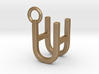 Two way letter pendant - HU UH 3d printed