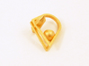 Crystal and Ball Ring 3d printed Gold
