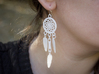 Feather Dream Catcher Earrings 3d printed