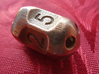 Five sided 'pepperpot' dice 3d printed Five sided pepperpot die in stainless steel