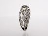 Koi-fish restrains Rose - US 7 3/4 - Ø18 - C56.4 3d printed Photo, Side view, Polished Silver