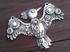 Steampunk Bird Pendant 3d printed Shown in Silver Glossy, Patinated with bleach