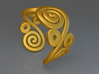 2 Spirals and ovals ring 3d printed 2 Spirals and ovals ring (Gold)