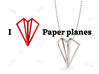 Paper Plane -necklace 3d printed I love Paper planes!