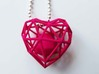 Heart Wireframe Pendant 3d printed Pink Wireframe Heart