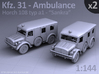 Ambulance Kfz 31 Horch - (2 pack) 3d printed