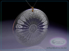 Asterolampra eximia pendant ~ 35mm (1&1/3 inch) 3d printed Asterolampra eximia 35mm pendant raytrace render simulating polished silver material