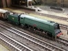 """Bulleid """"Merchant Navy"""" - Z - 1:220 3d printed model painted wheels added to tender, chassis added to body and coupler added."""