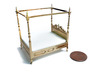 1:48 Four Poster Canopy Bed 3d printed Printed in Polished Brass - Shown with WSF Mattress, sold separately