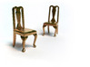 Pair of 1:48 Queen Anne Chairs 3d printed Printed in Raw Brass