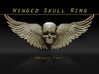 Metal Skull ring with wings 3d printed winged ring front view