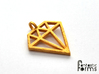 Pendant 'Diamond' 3d printed 2D diamond pendant printed in polished gold steel
