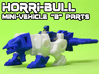 "Horri-Bull Minivehicle, ""B"" Parts 3d printed Assembled kit shown with Terri-Bull minifigure (not included)"