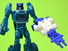 """Horri-Bull Minivehicle, """"A"""" Parts 3d printed Weapon Mode, shown with Blurr/Terri-Bull Titan Master (not included)"""