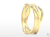 Full Dual Stone Ring 3d printed Gold