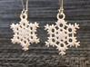"""Frost Snowflake Earrings 3d printed Pair of """"Frost"""" Snowflake Earrings in White Strong & Flexible Polished"""