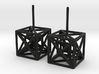 HyperCube Stud Earrings 3d printed