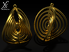 Aerial earring 3d printed Golden brass cycle render.