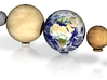Mercury, Venus, Earth, Moon & Mars to scale v.2 3d printed