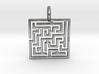 Maze Pendant No.3 3d printed Puzzle Pendant in Sliver