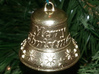 Merry Christmas Bell - Working Ringer Interlocking 3d printed A photo of Raw Brass.