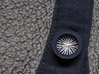 """5/8"""" Mandala Buttons (dozen) 3d printed Mandala strung like a wheel, attached to cardigan and buttoned"""