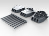 """1/700 16""""/45 MKI HMS Nelson Turrets 1945 3d printed 3d render showing set"""