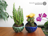 Porcelain plant pot #13 (size small, round) 3d printed Porcelain plant pots #13 (size small, round) - Oribe Green and Cobalt Blue