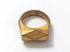 Chunky Hedron Ring 3d printed Chunky Hedron Ring in Polished Gold Steel