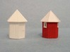 N scale Santa Fe hexagonal phone booth - 1 3d printed Back view with windows - painted