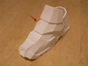 Iron Man Mark IV Left Lower Ankle Armor 3d printed Actual 3D print using White Strong &Flexible Plastic. Photographed with boot)