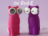 Kitty Cat Earbud Storage Case 3d printed The kitty cat and puppy dog Bud-Es shown here in pink and purple.