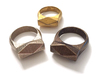 Chunky Hedron Ring 3d printed Chunky Hedron Rings in Stainless Steel, Polished Gold Steel & Polished Bronze (left to right)