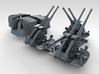 "1/350 4.7"" MKXII CPXIX Twin Mount x3 40º  3d printed 3d render showing set"