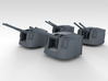 "1/350 4.7"" MKXII CPXIX Mount x4 25º Closed Ports 3d printed 3d render showing assembled set"