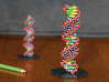 "DNA Molecule Model Coding Text. Vertical. 2 Sizes. 3d printed DNA Molecule Model ""Genetics"" Vertical, in Size Large, Printed in Coated Full Color Sandstone"